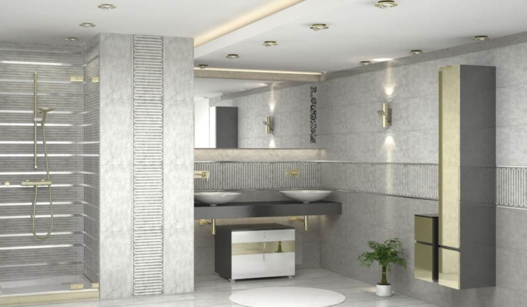 wall tile and floor tile , boom ceramic ، Wall Tile Design Anika Gray Size 60*30 glaze Matt with Base Cement