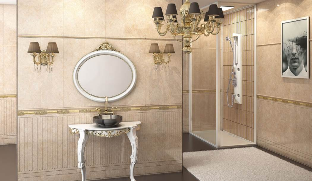 wall tile and floor tile , boom ceramic ، Wall Tile Design Arva Cream Size 90*30 glaze Glossy with Base Stone