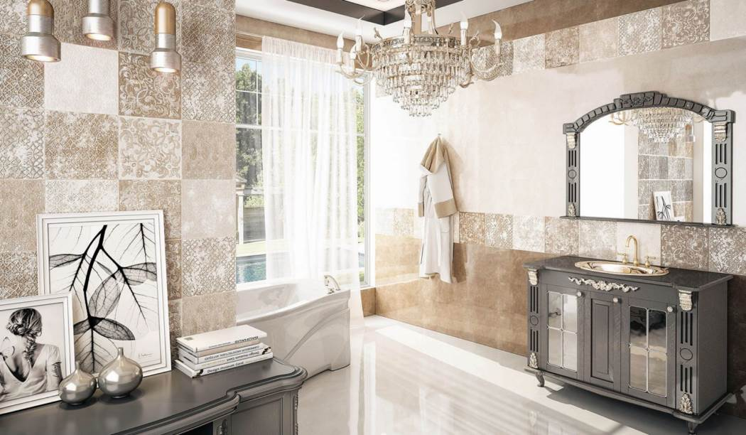 wall tile and floor tile , boom ceramic ، Wall Tile Design Latina Cream Brown Size 90*30 glaze Glossy with Base Stone