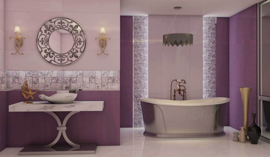boom ceramic , Wall Tile Purple paniz Design , Purple Watercolor texture , Glossy Flat in size 90*30