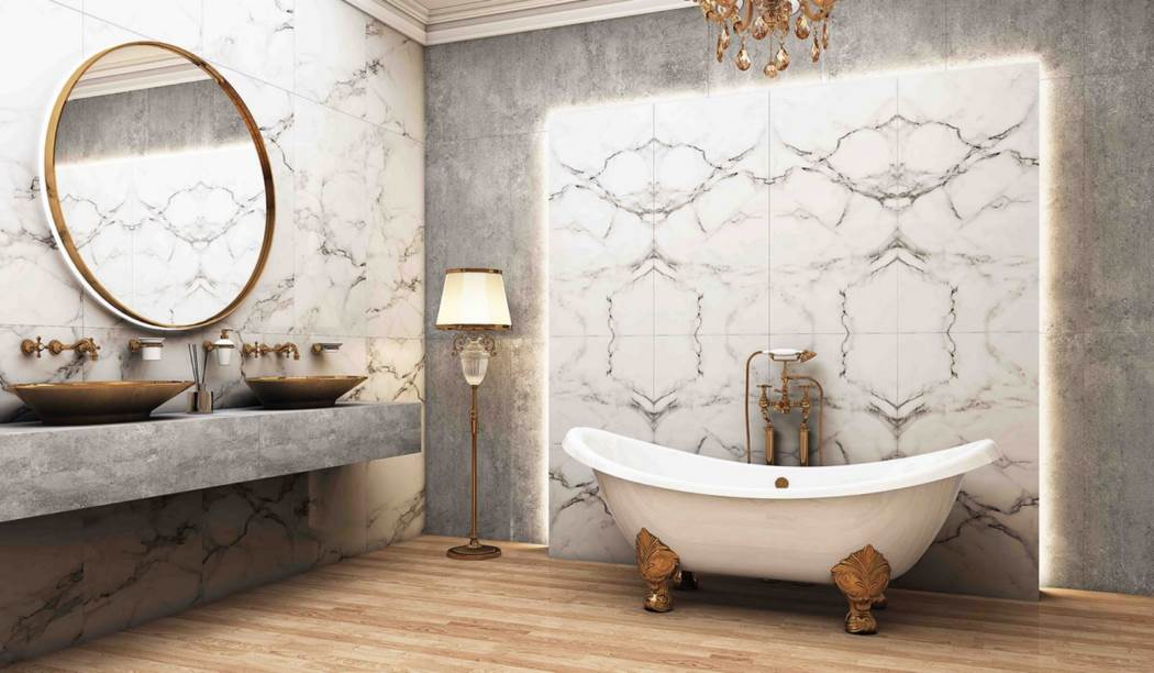 wall tile and floor tile , boom ceramic ، Porcelain Ceramics Design Quantom Book Match2 White Size 120 * 60 glaze Full Polish Flat with Base Stone