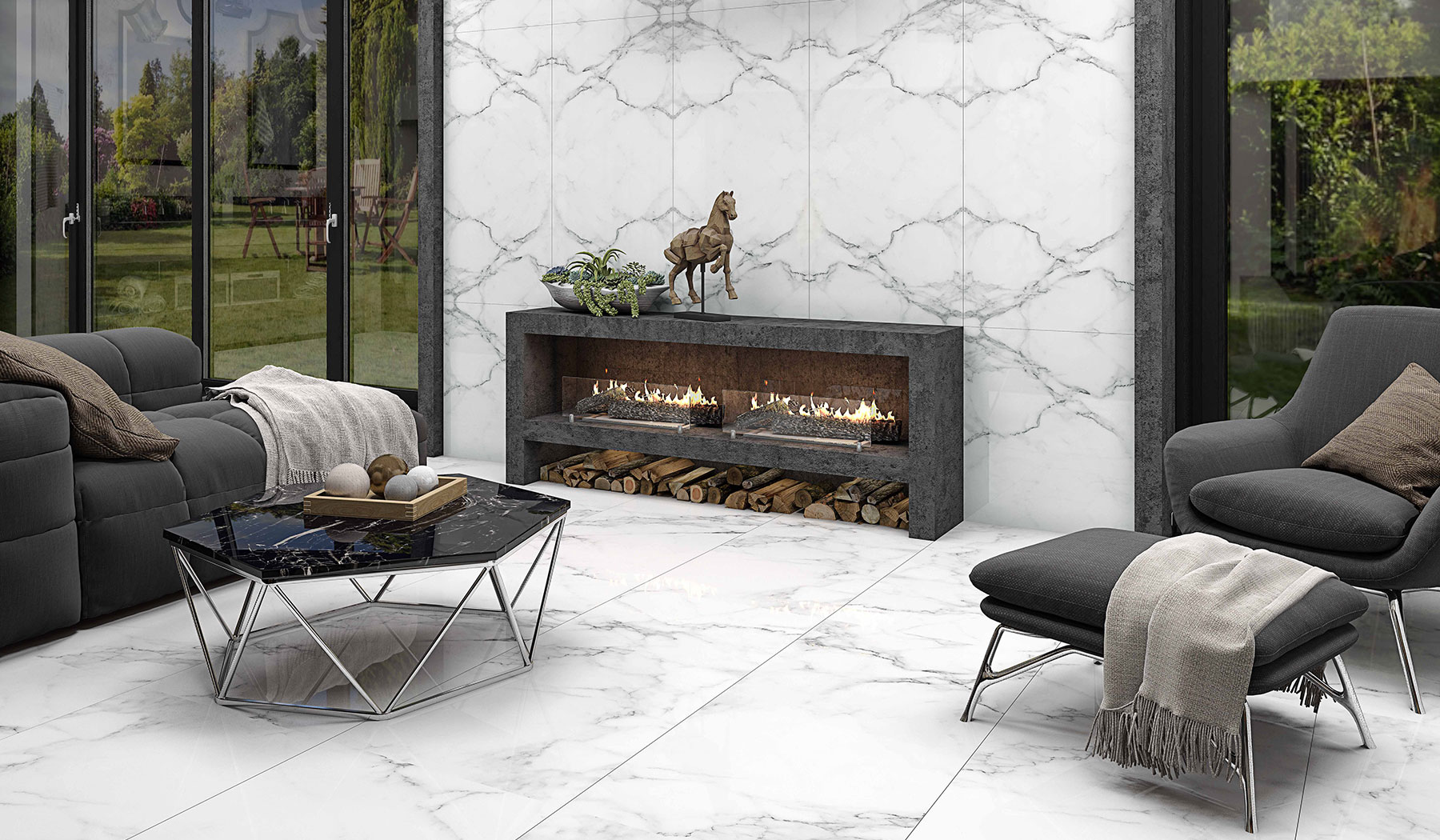 boom ceramic , Porcelain Ceramic Book Match Rocky Design , White Stone texture , Full Polish Flat in size 120*60