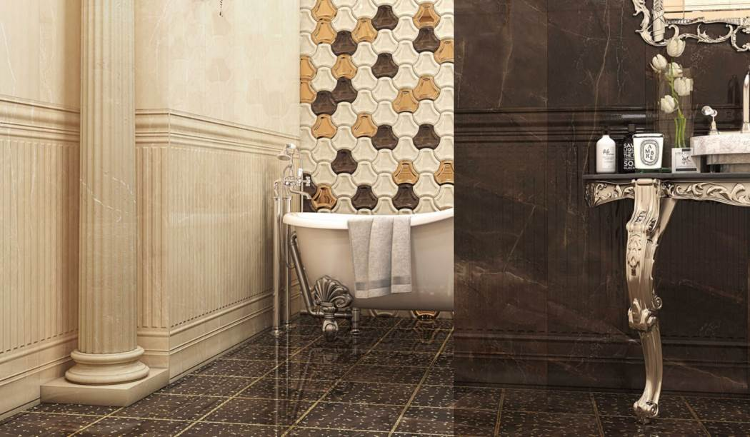 boom ceramic , Floor Tile Sanita Floor Design , Brown Stone texture , Coating Polish Flat in size 30*30