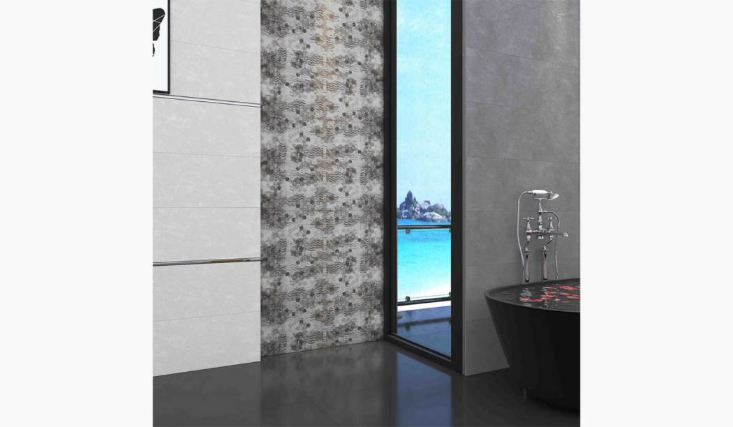 boom ceramic , Wall Tile Seedolf Design , Gray Cement texture , Matt Rustic in size 30*90