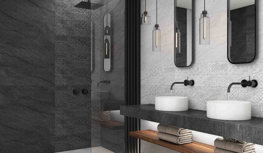 boom ceramic , Wall Tile Gray Tyumen Design , Gray Cement texture , Matt Flat in size 30*90
