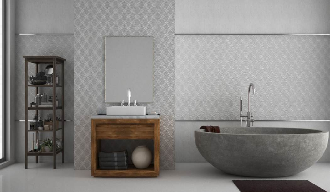 wall tile and floor tile , boom ceramic ، Wall Tile Design Vian Gray Size 70*25 glaze Semi Glossy with Base Wall Paper
