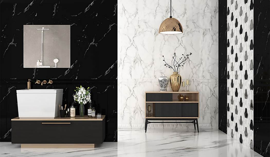 wall tile and floor tile , boom ceramic ، Wall Tile Design Alambera Black Size 100*33 glaze Glossy with Base Stone