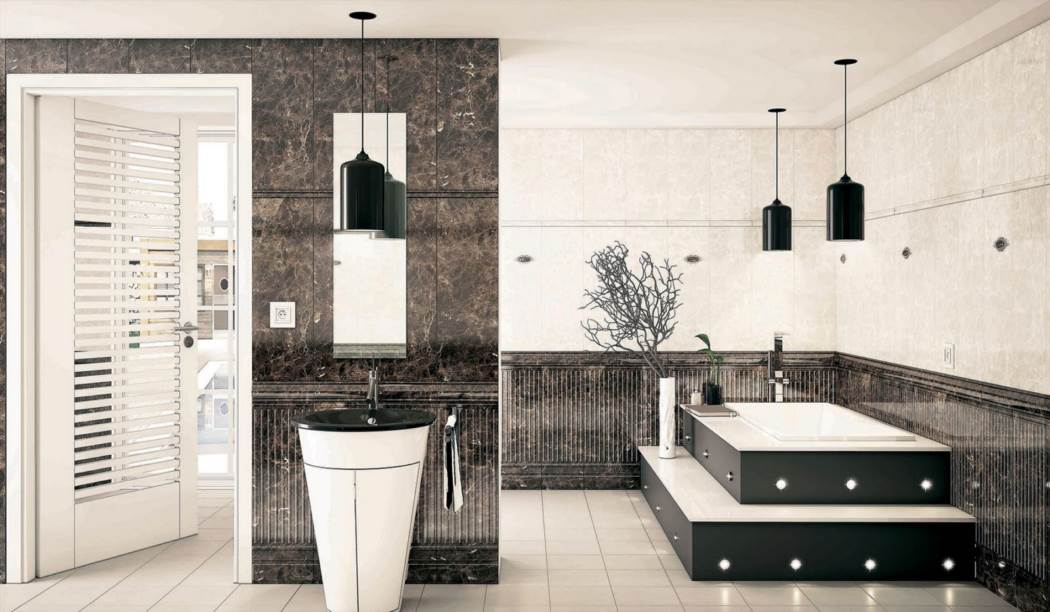 wall tile and floor tile , boom ceramic ، Wall Tile Design Alvarita Brown  Size 90*30 glaze Glossy with Base Stone