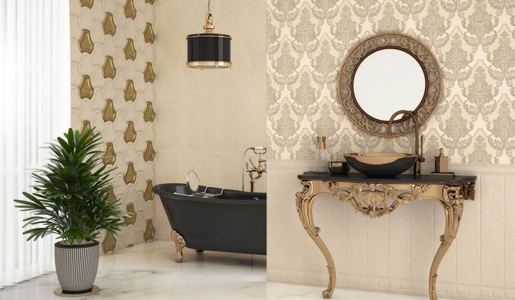 wall tile and floor tile , boom ceramic ، Wall Tile Design Arizo Beige Beige Size 100*33 glaze Matt Suger Effect with Base Wall Paper