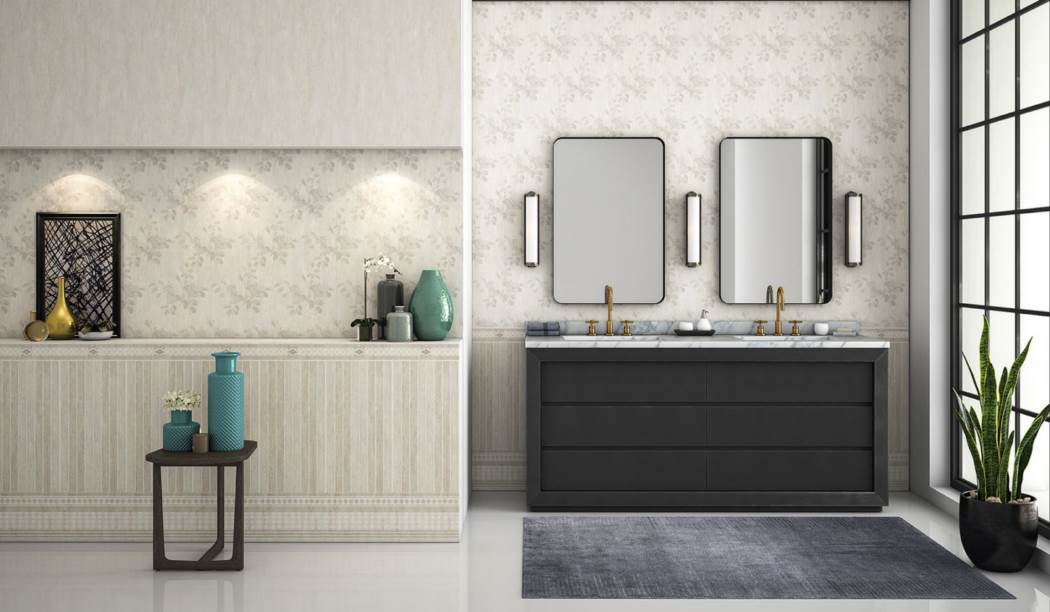 wall tile and floor tile , boom ceramic ، Wall Tile Design Chitra Cream Size 90*30 glaze Matt with Base Wall Paper