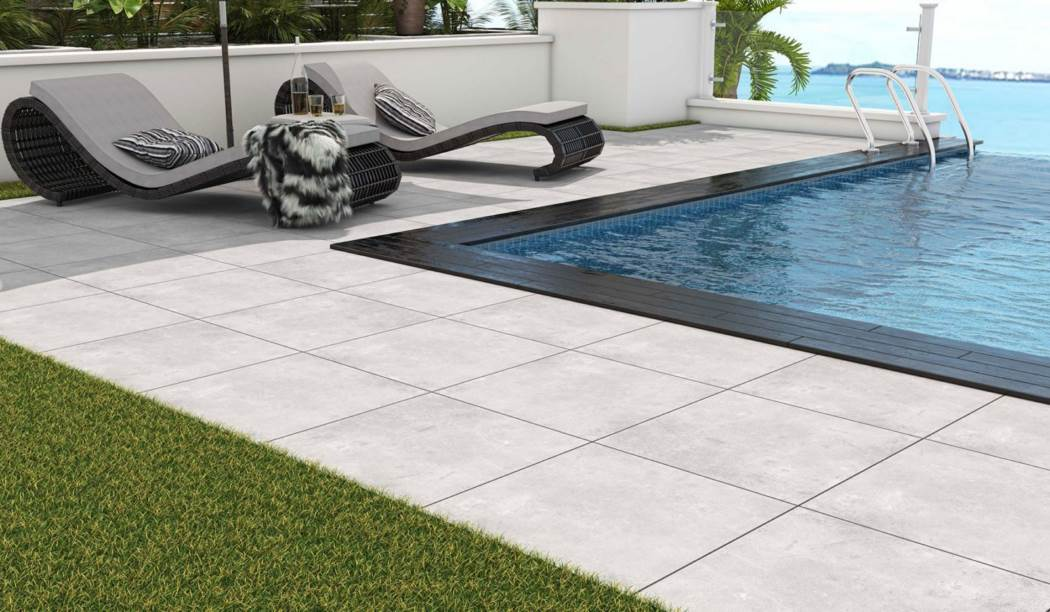 boom ceramic , Porcelain Ceramic Gray Platform Design , Gray Cement texture , Matt Flat in size 60*60