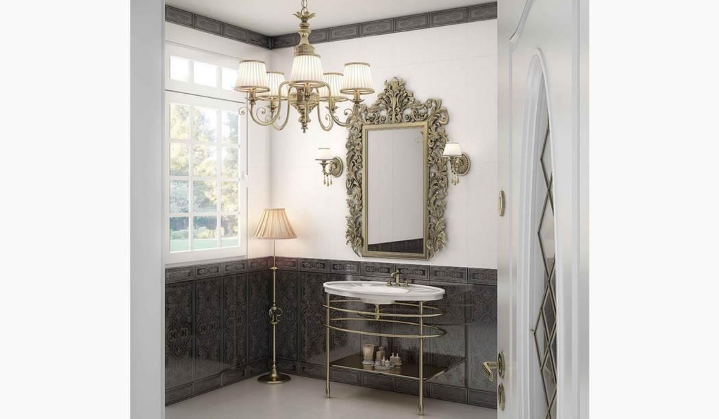 wall tile and floor tile , boom ceramic ، border Decorative Design Rozalia Graphite Graphite Size 75*30 glaze Glossy with Base Watercolor