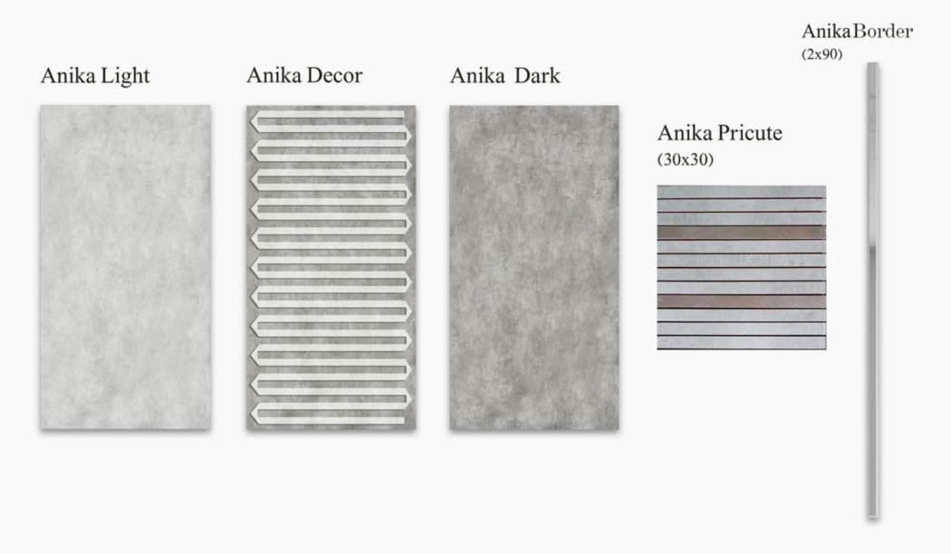 کاشی و سرامیک بوم سرامیک ، کاشی دیوار مجموعه آنیکا طوسی سایز 60*30 لعاب مات با زمینه سیمانی