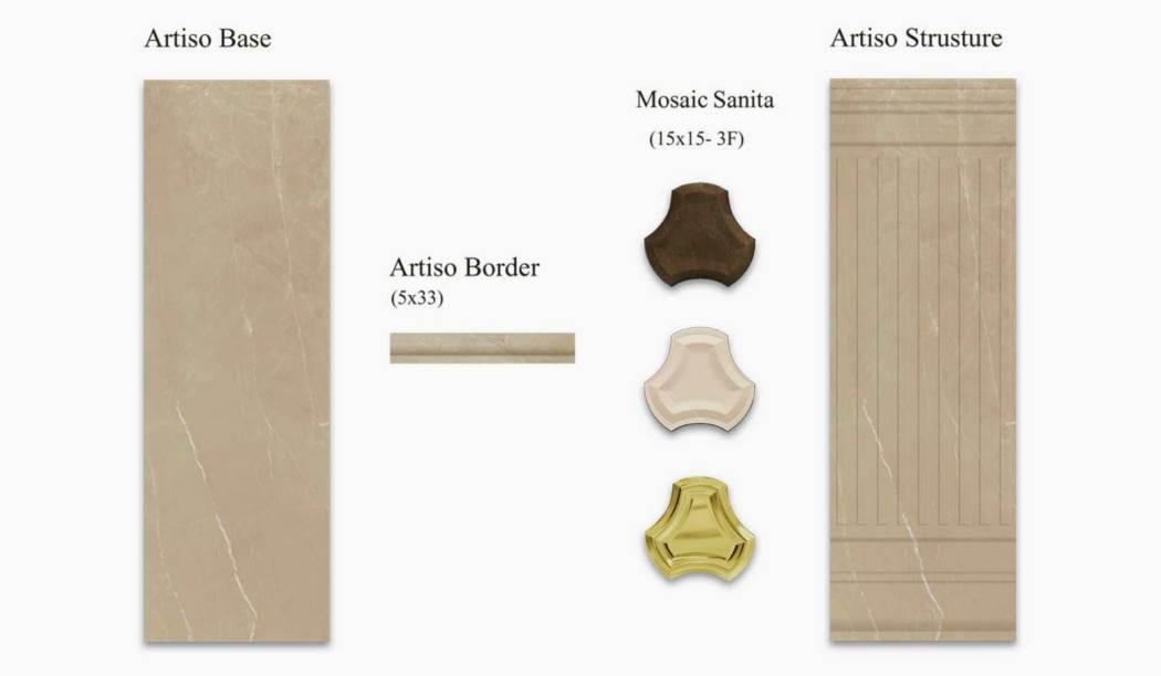 کاشی و سرامیک بوم سرامیک ، کاشی دیوار مجموعه آریستو کرم سایز 100 * 33 لعاب براق صاف با زمینه سنگی