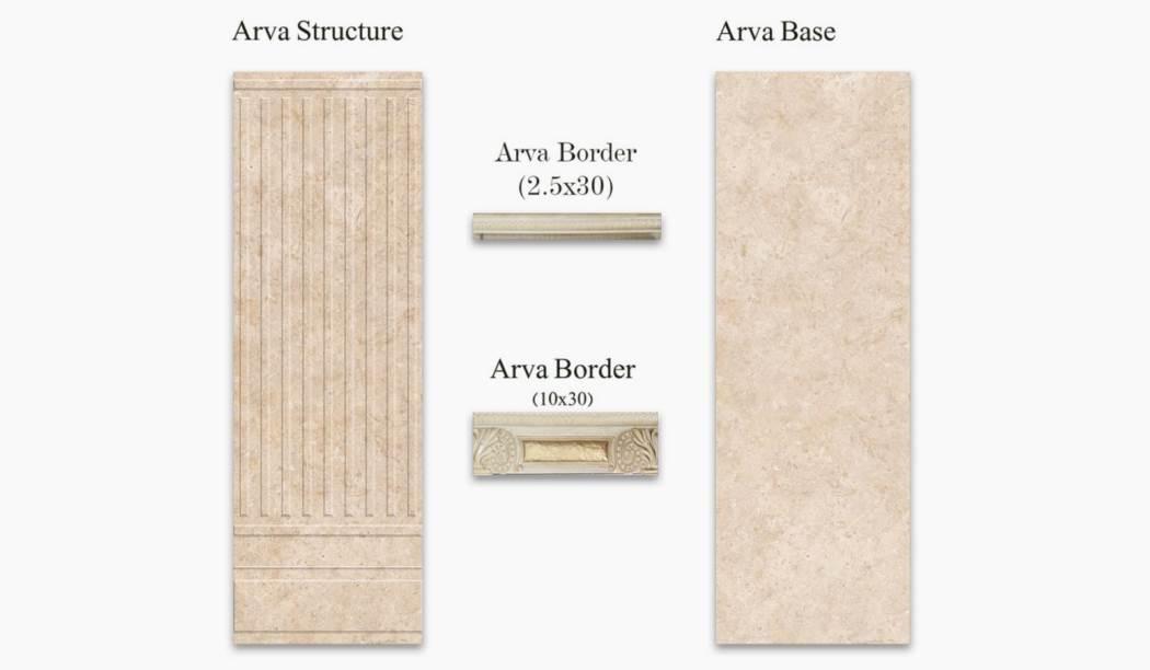 کاشی و سرامیک بوم سرامیک ، کاشی دیوار مجموعه آروا کرم سایز 90*30 لعاب براق با زمینه سنگی