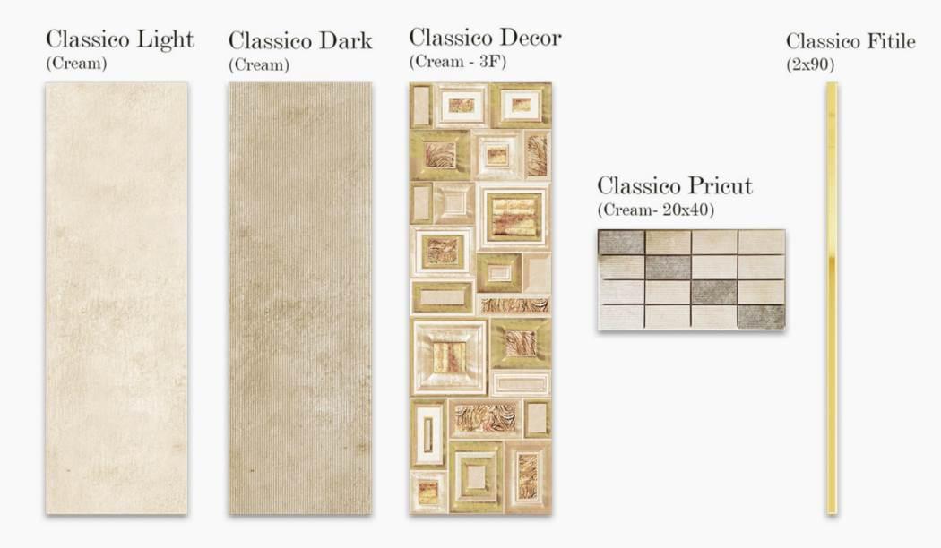 کاشی و سرامیک بوم سرامیک ، کاشی دیوار مجموعه کلاسیکو کرم سایز 90*30 لعاب مات با زمینه سیمانی