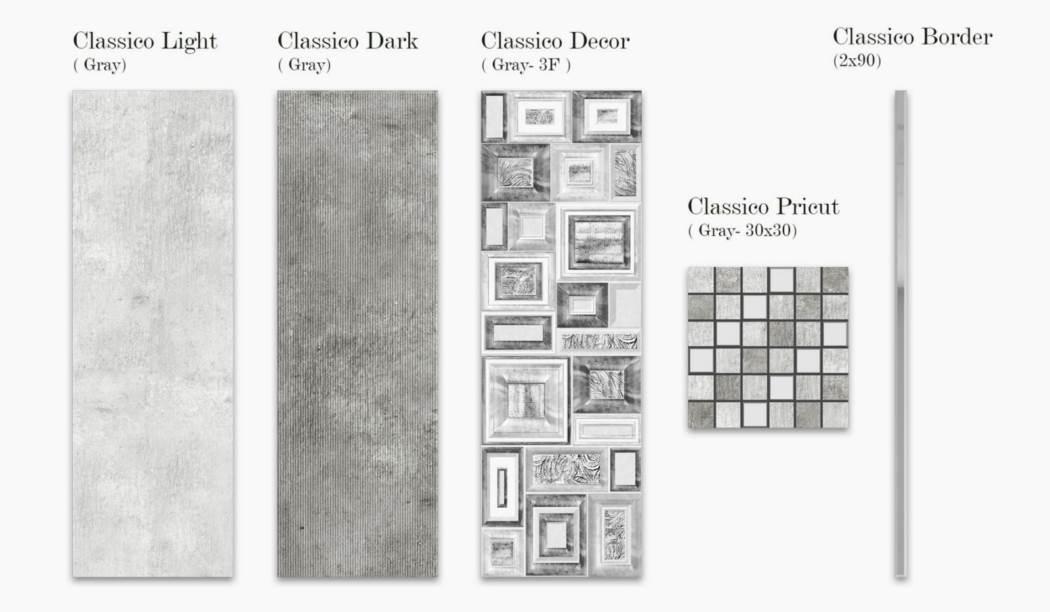 کاشی و سرامیک بوم سرامیک ، کاشی دیوار مجموعه کلاسیکو طوسی سایز 9030 لعاب مات - با زمینه سیمانی