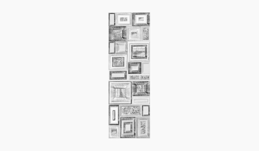 کاشی و سرامیک بوم سرامیک ، کاشی دکوراتیو کلاسیکو دکور طوسی سایز 90*30 لعاب پانچ مات پخت سوم با زمینه فانتزی
