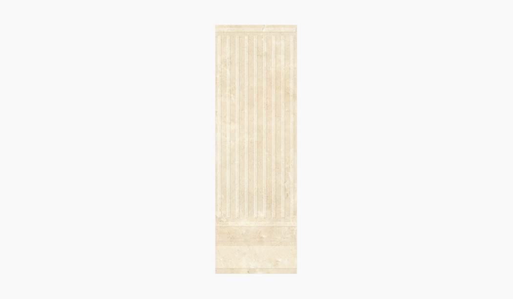 کاشی و سرامیک بوم سرامیک ، کاشی دیوار کلئوپاترا دکور ستونی کرم سایز 90*30 لعاب براق پانچ با زمینه سنگی