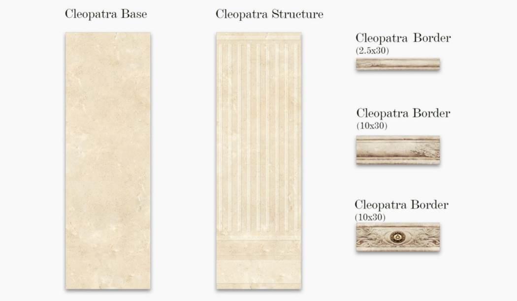 کاشی و سرامیک بوم سرامیک ، کاشی دیوار مجموعه کلئوپاترا کرم سایز 90*30 لعاب براق با زمینه سنگی
