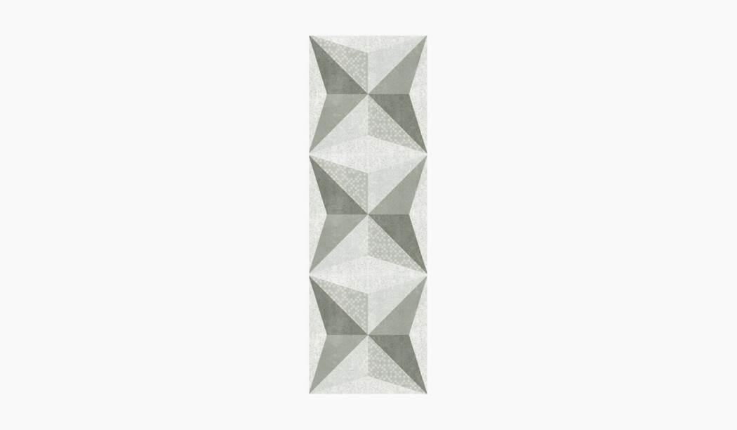 کاشی و سرامیک بوم سرامیک ، دکوراتیو هوگو دکور طوسی سایز 90*30 لعاب پانچ مات پخت سوم با زمینه فانتزی