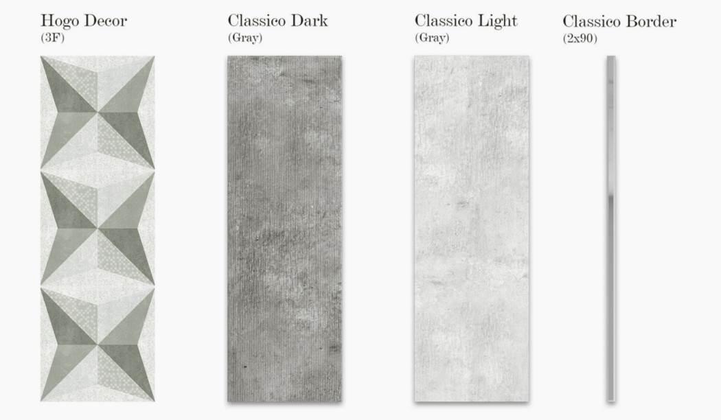 کاشی و سرامیک بوم سرامیک ، کاشی دیوار مجموعه هوگو طوسی سایز 90*30 لعاب مات با زمینه سیمانی