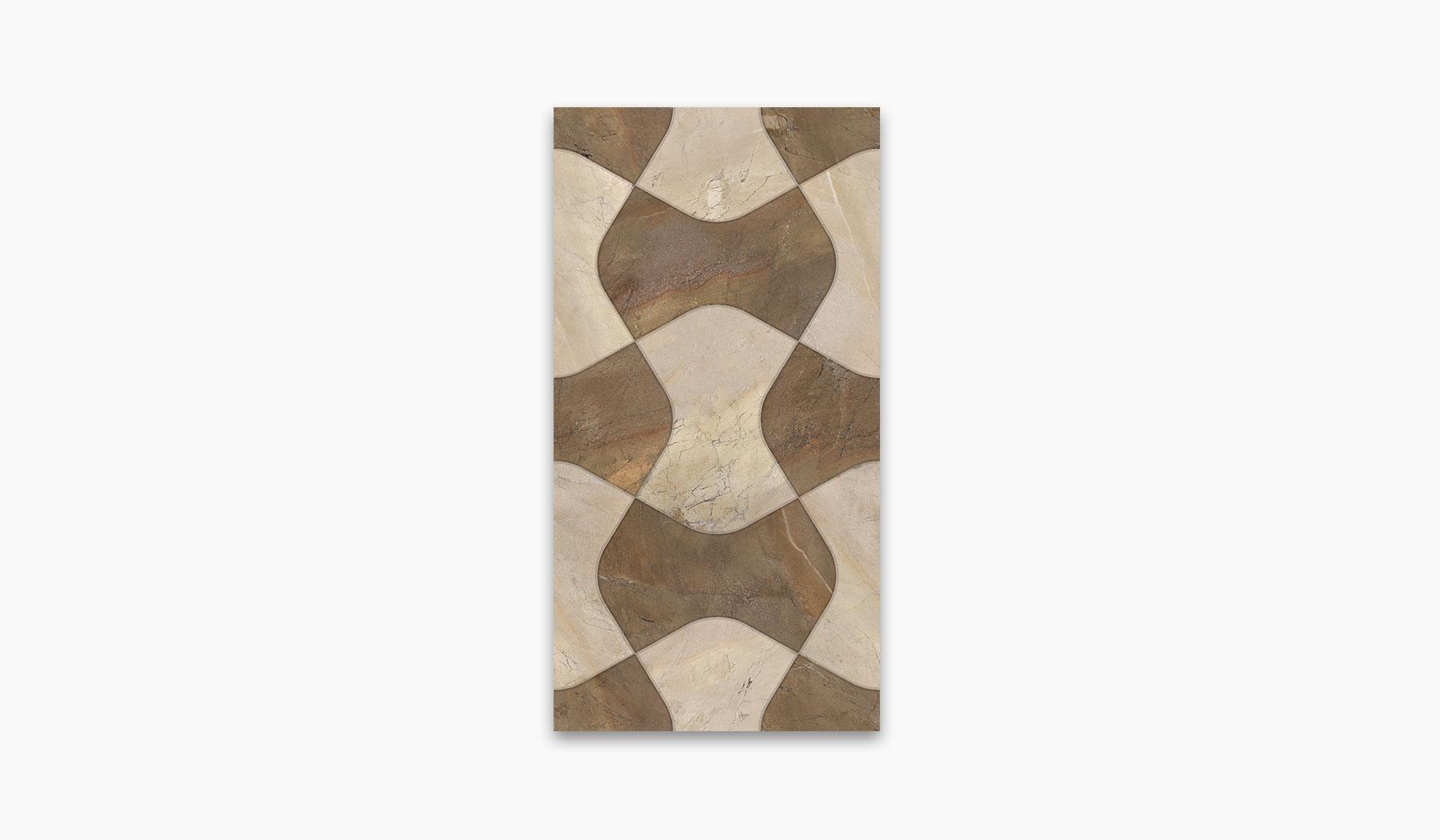 کاشی و سرامیک بوم سرامیک ، کاشی دیوار دکور مانیس کرم قهوه ای سایز 30*60 لعاب براق پانچ با زمینه سنگ