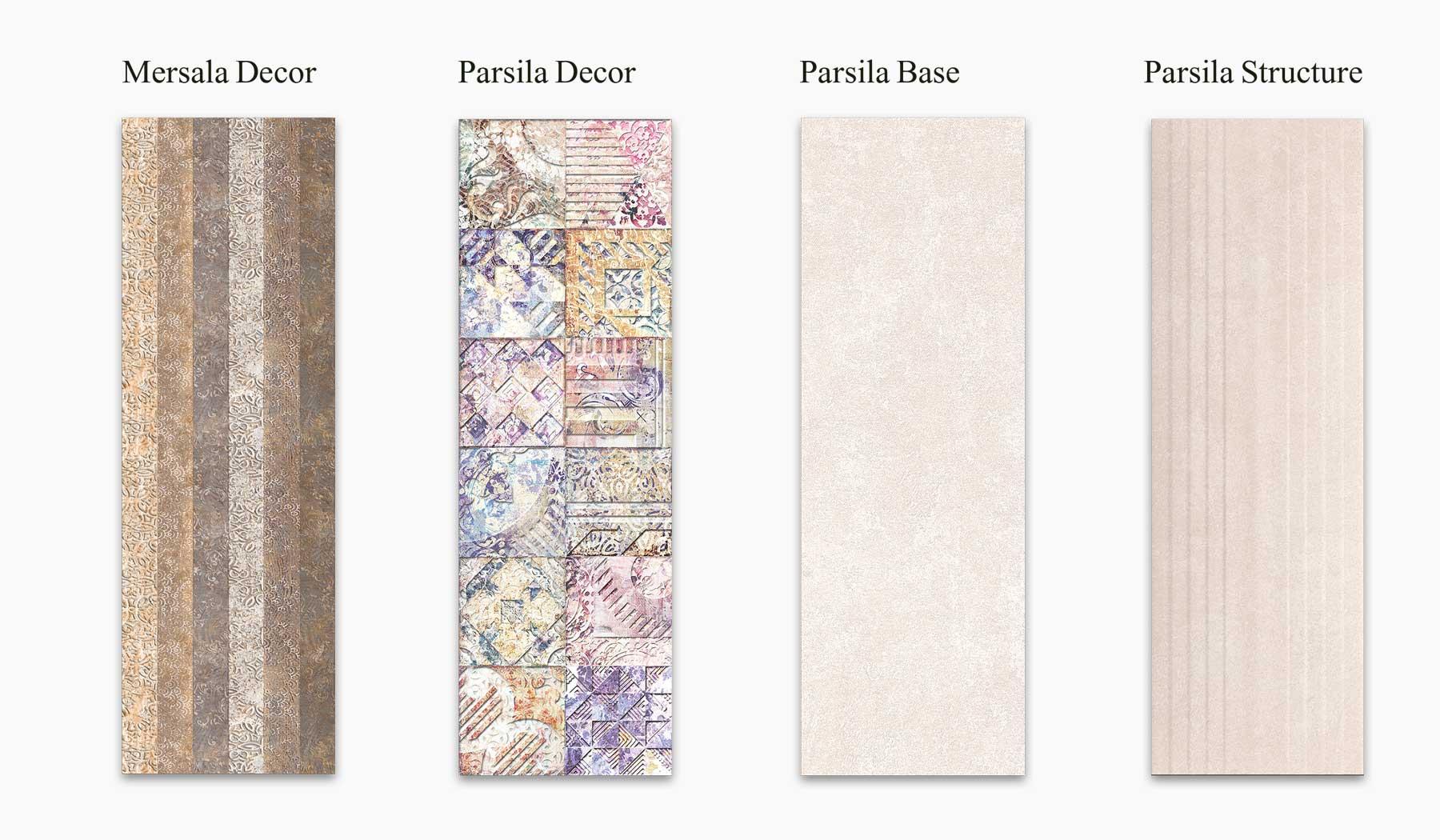 کاشی و سرامیک بوم سرامیک ، کاشی دیوار مجموعه مرسالا قهوه ای سایز 90 * 30 لعاب مات - با زمینه سیمانی