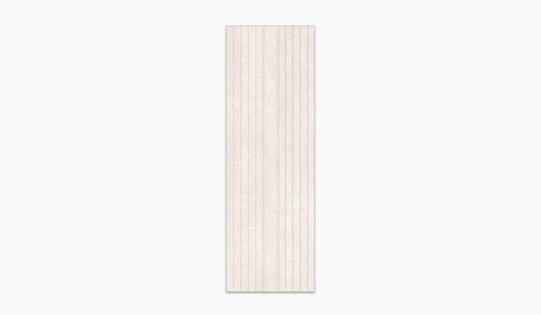 کاشی و سرامیک بوم سرامیک ، کاشی دیوار مرسالا دکور کرم تیره سایز 90 * 30 لعاب مات پانچ با زمینه سیمانی