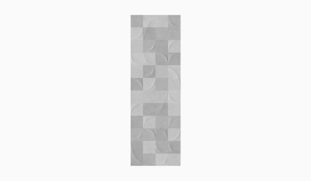 کاشی و سرامیک بوم سرامیک ، کاشی دیوار پارما دکور طوسی سایز 90*30 لعاب مات پانچ با زمینه سیمانی