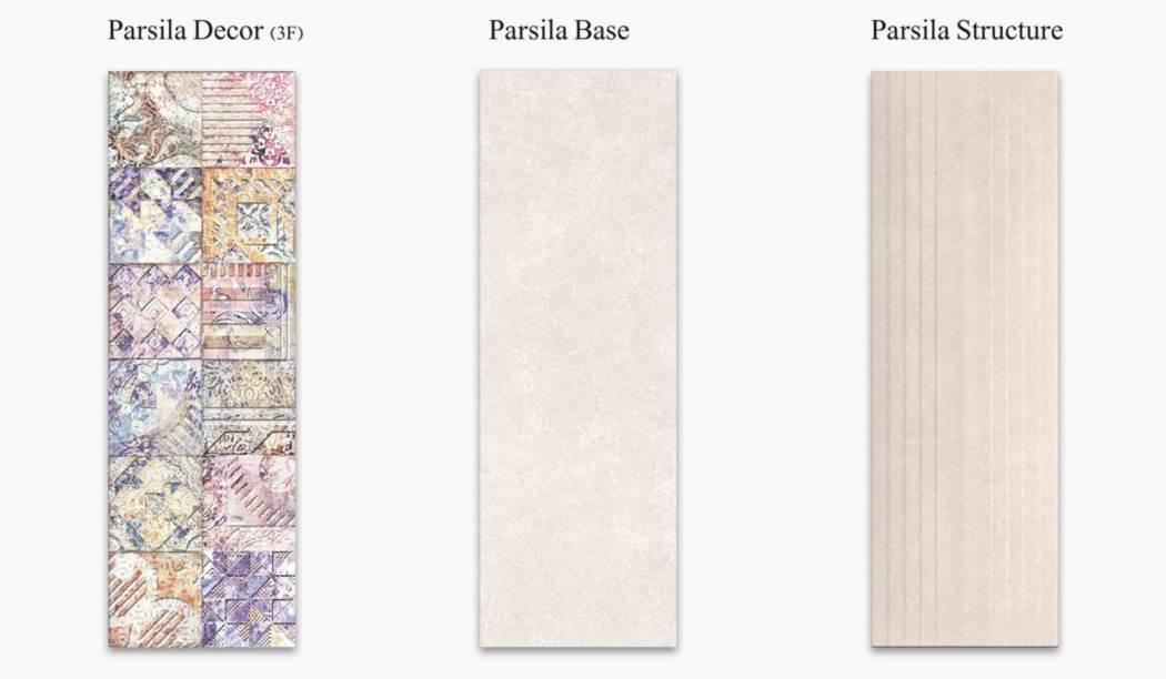 کاشی و سرامیک بوم سرامیک ، کاشی دیوار مجموعه پارسیلا کرم سایز 90*30 لعاب مات با زمینه سیمانی
