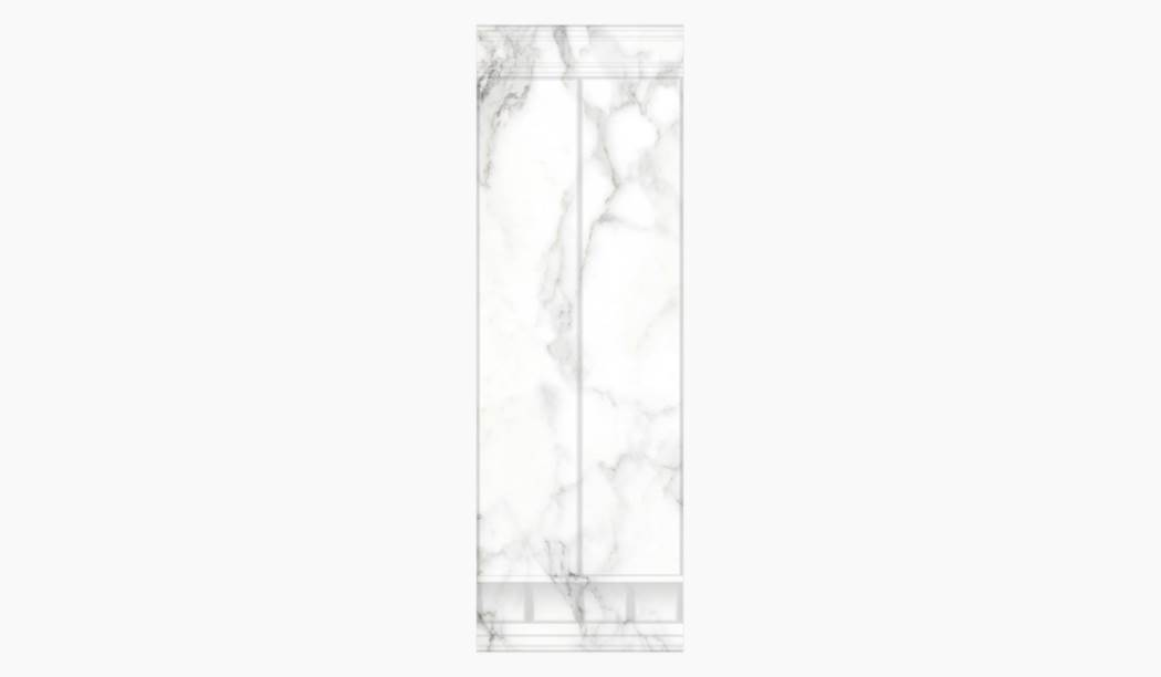کاشی و سرامیک بوم سرامیک ، کاشی دیوار کوآنتوم دکور ستونی سفید سایز 100*33 لعاب براق پانچ با زمینه سنگی