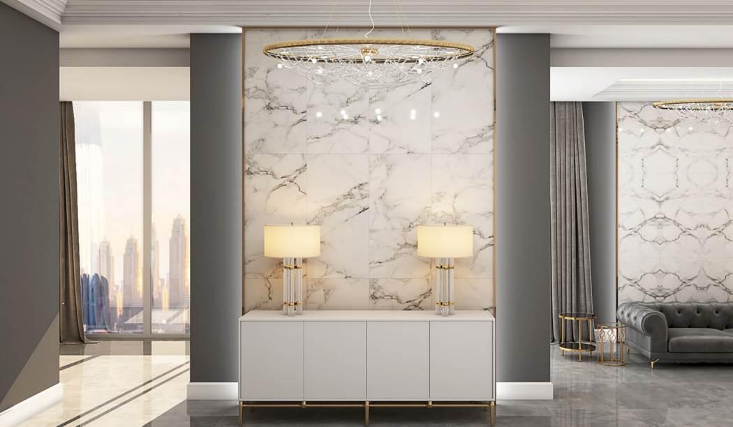 کاشی و سرامیک بوم سرامیک ، سرامیک پرسلان طرح کوآنتوم رندوم2 سفید سایز 120*60 لعاب فول پولیش صاف با زمینه سنگی