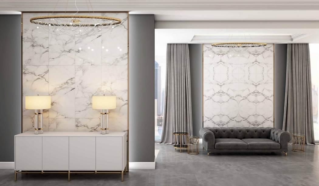 کاشی و سرامیک بوم سرامیک ، سرامیک پرسلان طرح کوآنتوم رندوم سفید سایز 120*60 لعاب فول پولیش صاف با زمینه سنگی