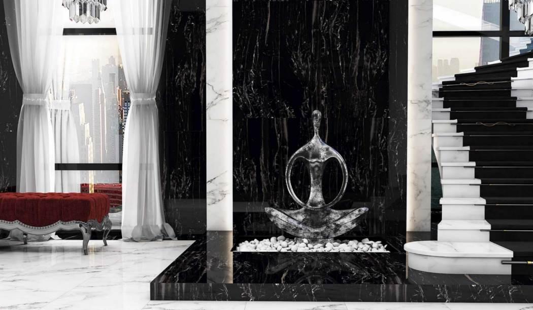 کاشی و سرامیک بوم سرامیک ، سرامیک پرسلان طرح ساهارا مشکی سایز 60*120 لعاب فول پولیش صاف با زمینه سنگ