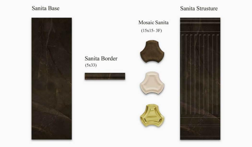 کاشی و سرامیک بوم سرامیک ، کاشی دیوار مجموعه سانیتا قهوه ای تیره سایز 100 * 33 لعاب براق صاف با زمینه سنگ