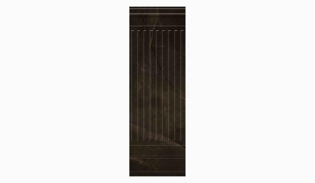 کاشی و سرامیک بوم سرامیک ، کاشی دیوار سانیتا دکور قهوه ای تیره سایز 100 * 33 لعاب پانچ براق صاف با زمینه سنگی