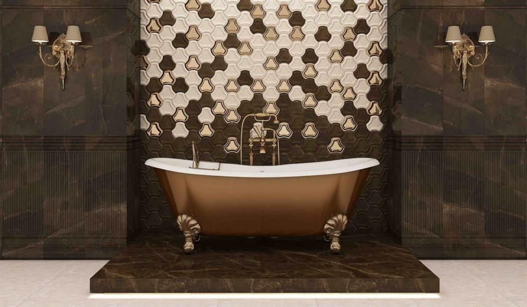 کاشی و سرامیک بوم سرامیک ، کاشی دیوار طرح سانیتا قهوه ای تیره سایز 100 * 33 لعاب براق صاف با زمینه سنگی