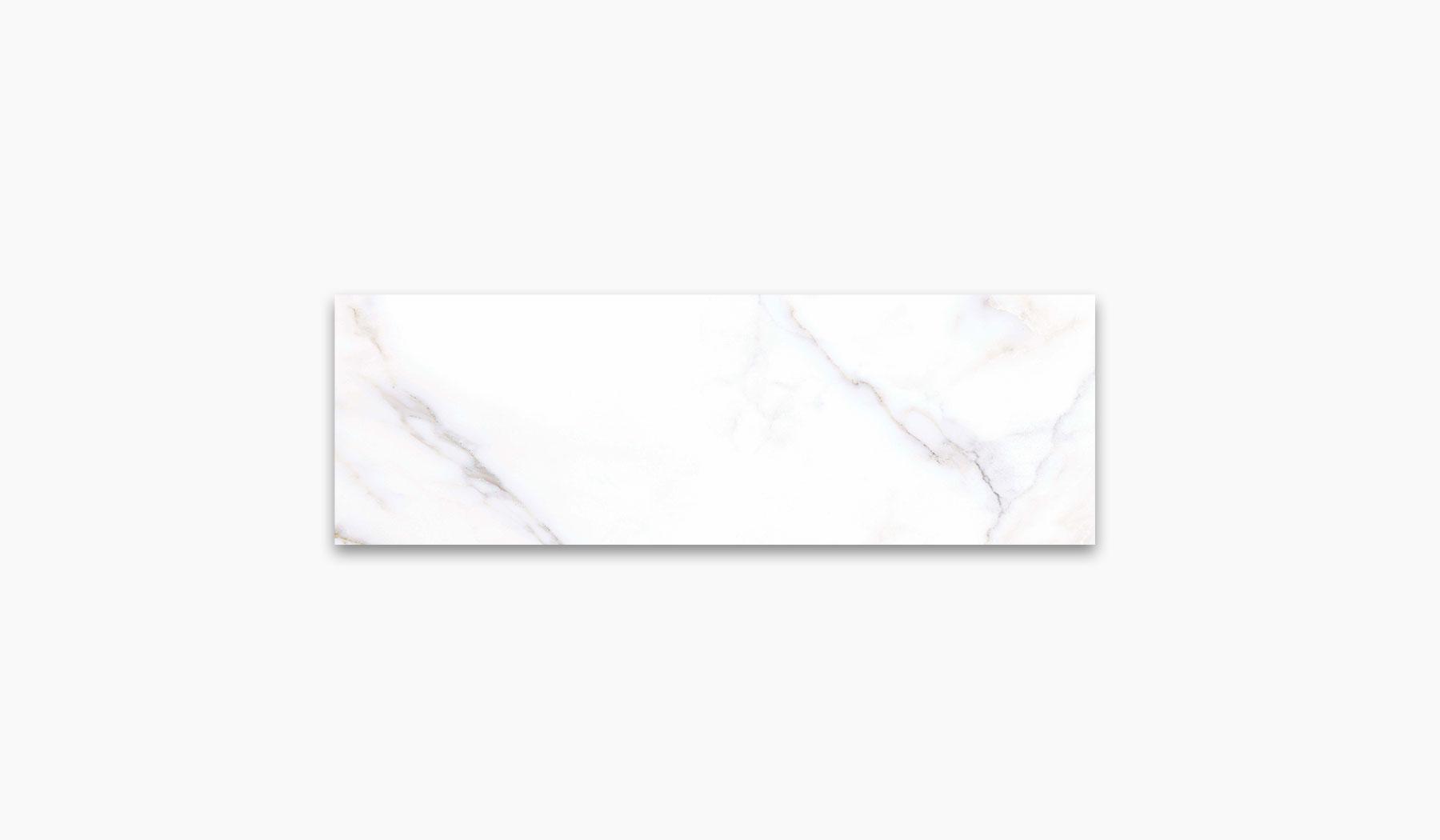 کاشی و سرامیک بوم سرامیک ، کاشی دیوار آلوینو سفید سایز 30*90 لعاب براق صاف با زمینه سنگ