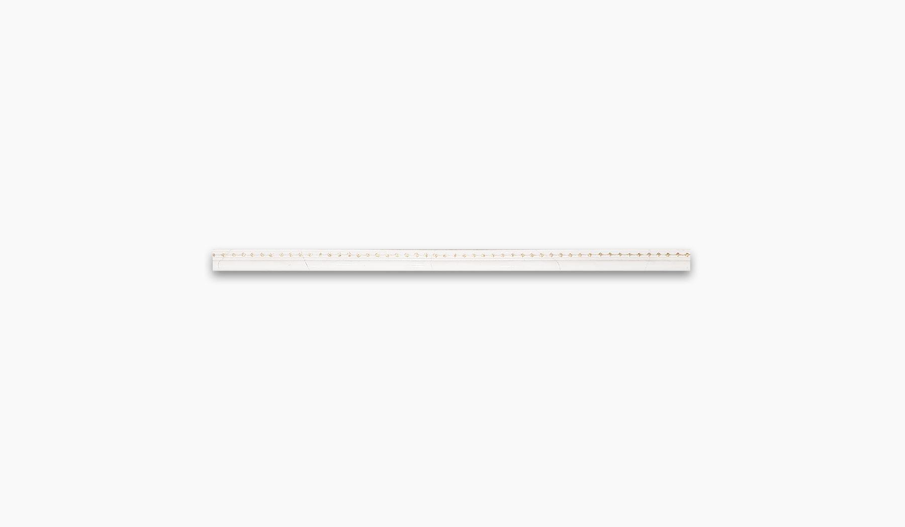 کاشی و سرامیک بوم سرامیک ، دکوراتیو نوار کالیما سفید سایز 2*90 لعاب براق پانچ با زمینه سنگ