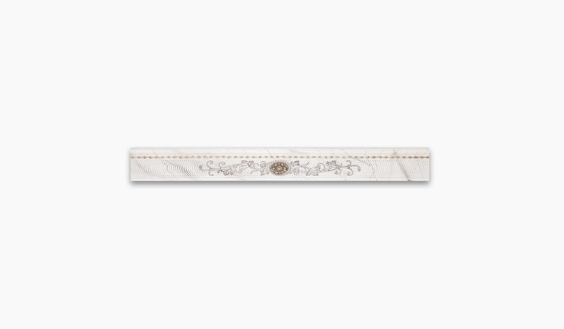 کاشی و سرامیک بوم سرامیک ، دکوراتیو نوار کالیما سفید سایز 10*90 لعاب براق پانچ با زمینه سنگ