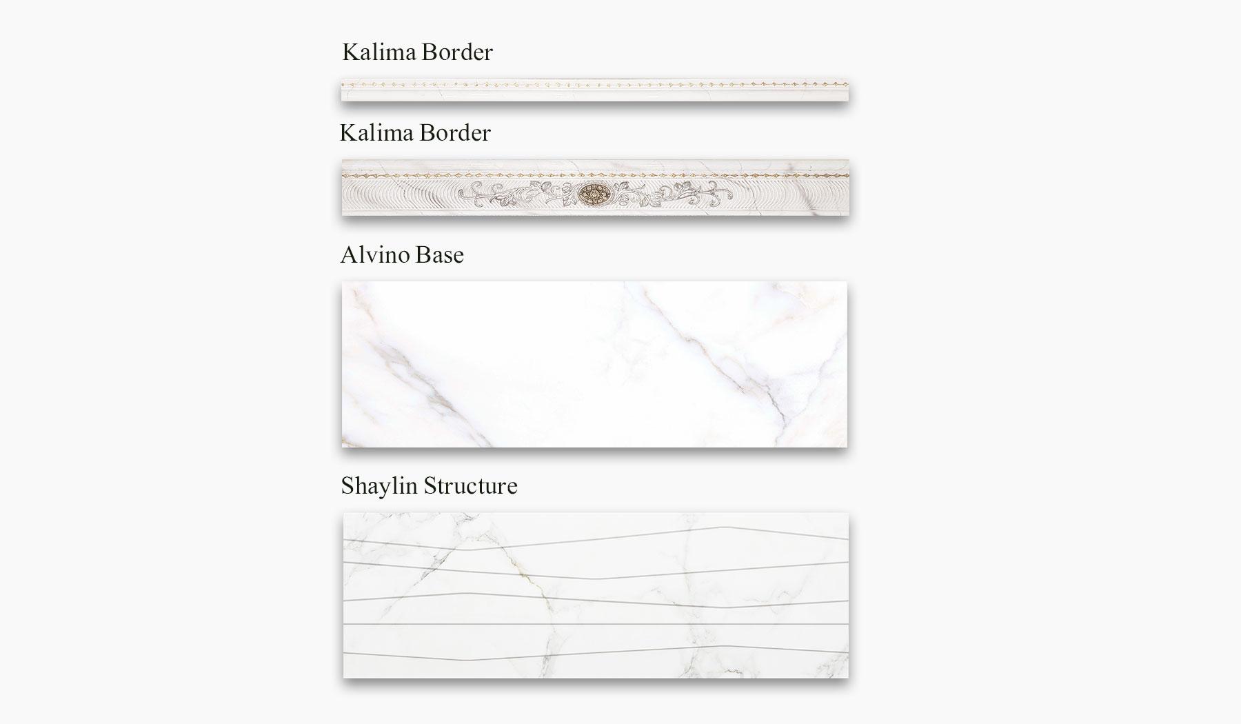 کاشی و سرامیک بوم سرامیک ، کاشی دیوار مجموعه شایلین سفید سایز 30*90 لعاب براق پانچ با زمینه سنگ
