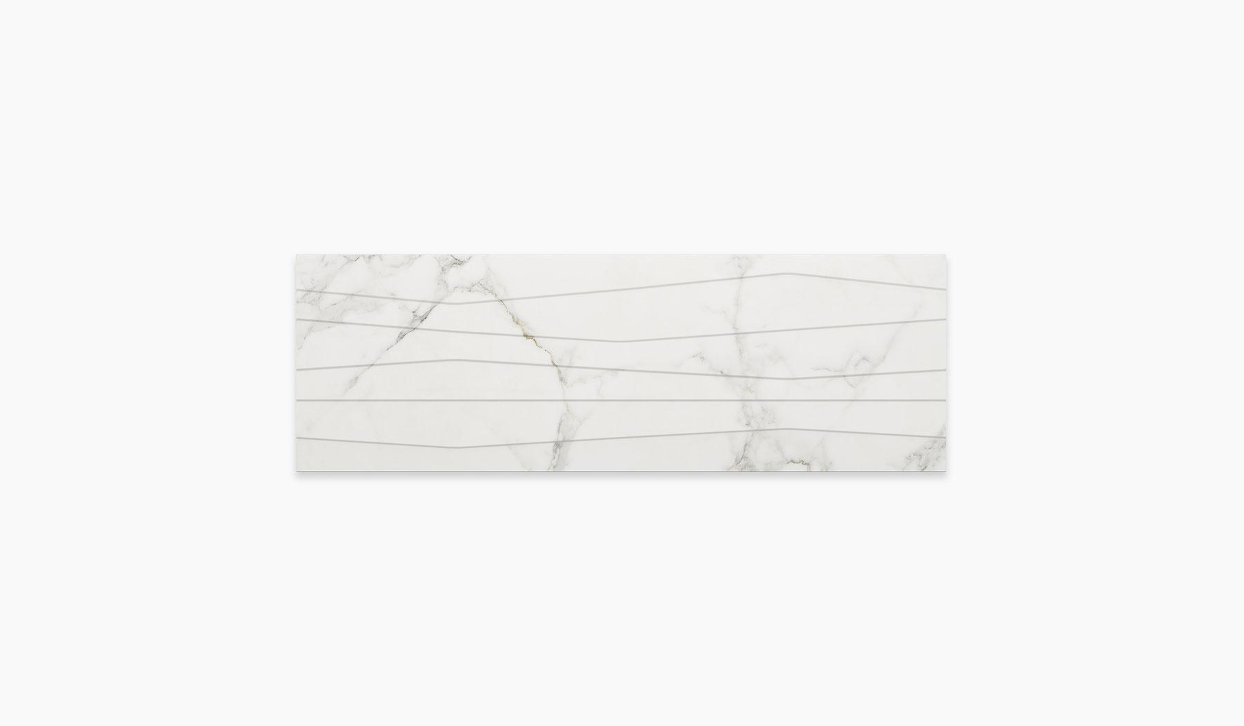 کاشی و سرامیک بوم سرامیک ، کاشی دیوار شایلین سفید سایز 30*90 لعاب براق پانچ با زمینه سنگ
