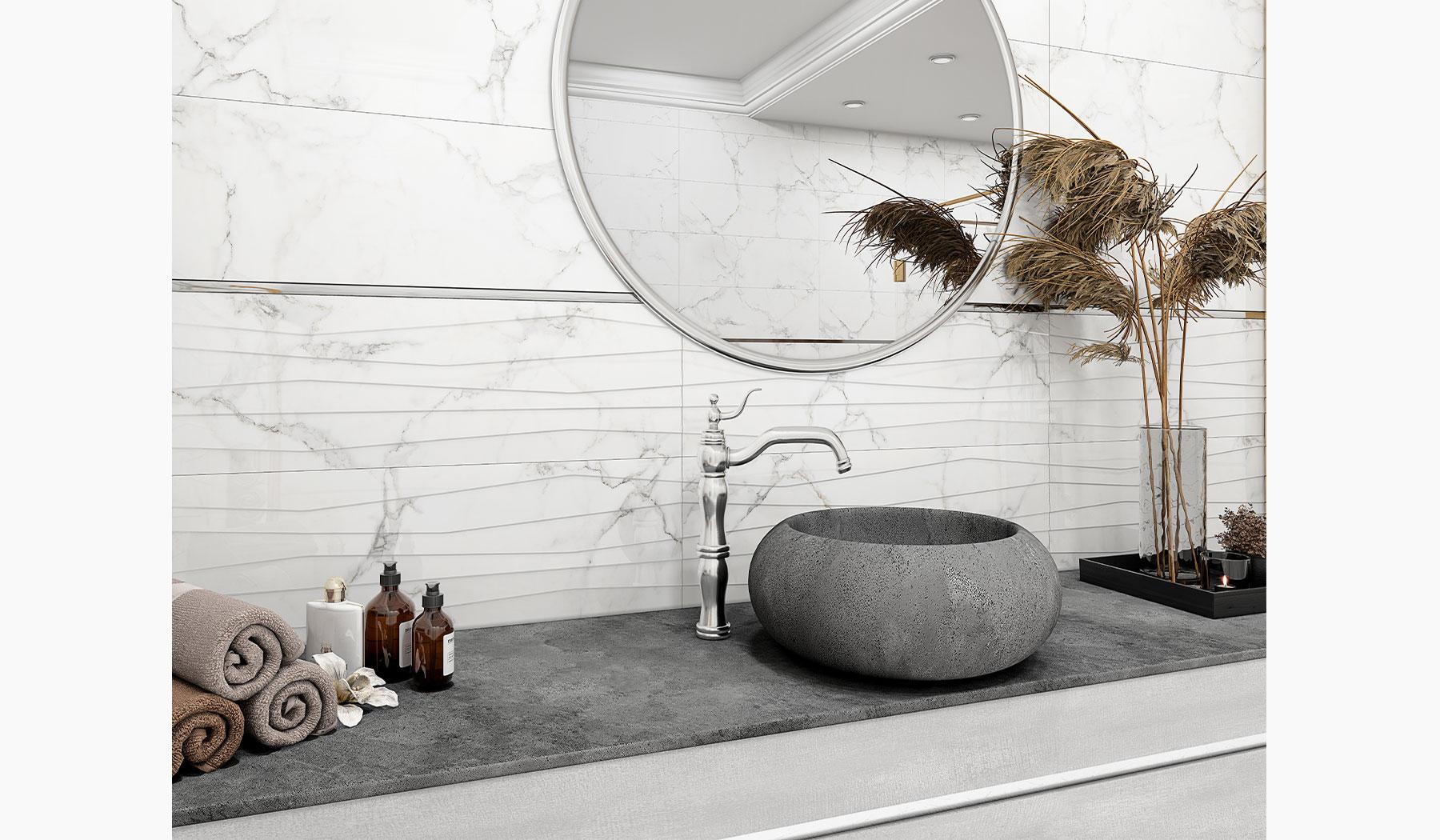 کاشی و سرامیک بوم سرامیک ، کاشی دیوار طرح شایلین سفید سایز 30*90 لعاب براق پانچ با زمینه سنگ