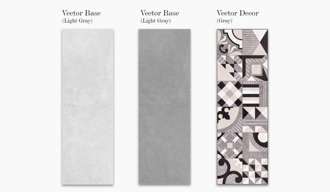کاشی و سرامیک بوم سرامیک ، کاشی دیوار مجموعه وکتور طوسی سایز 90*30 لعاب مات با زمینه سیمانی