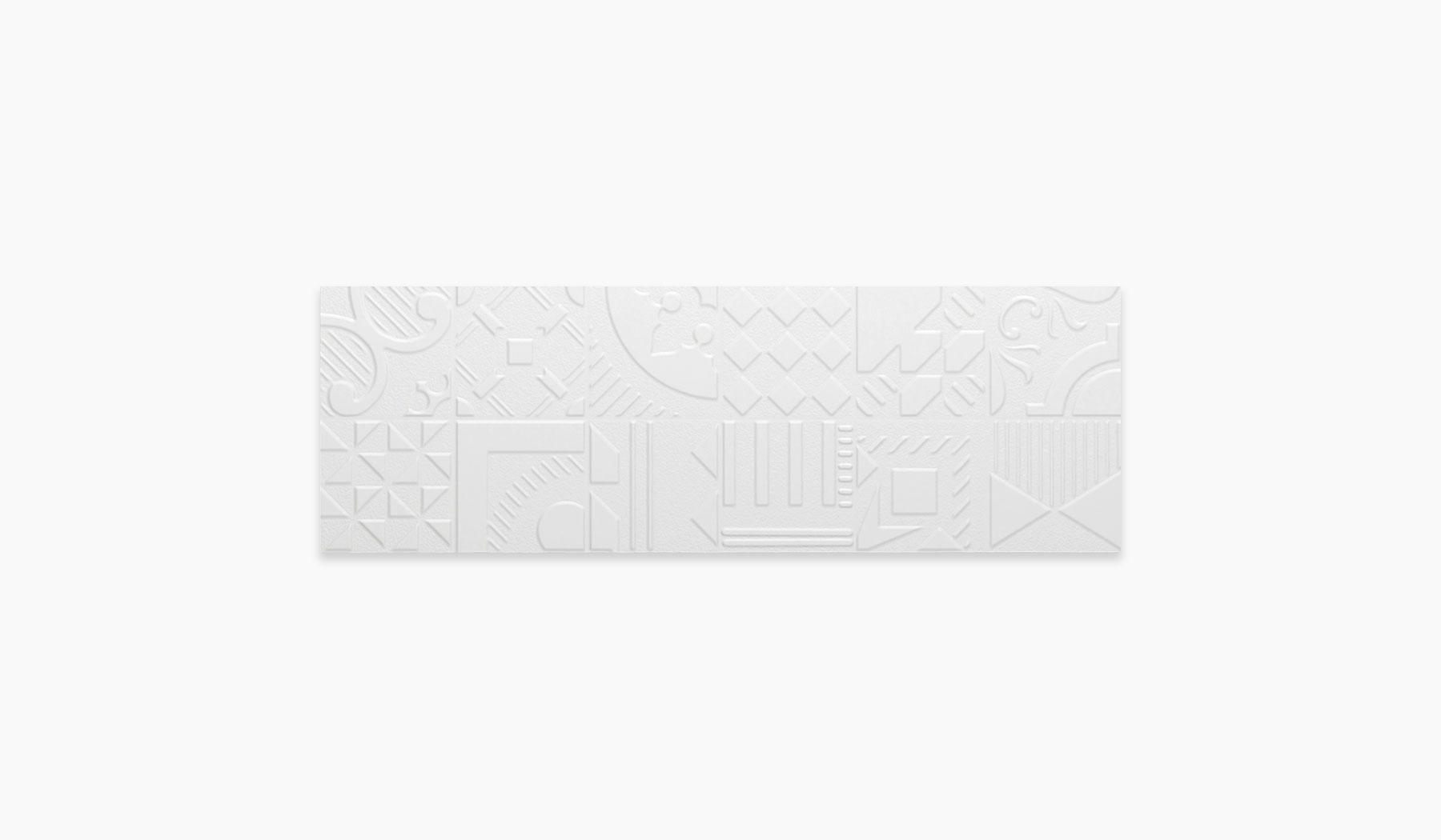 کاشی و سرامیک بوم سرامیک ، کاشی دیوار وکتور سفید سایز 30*90 لعاب مات پانچ با زمینه سیمانی