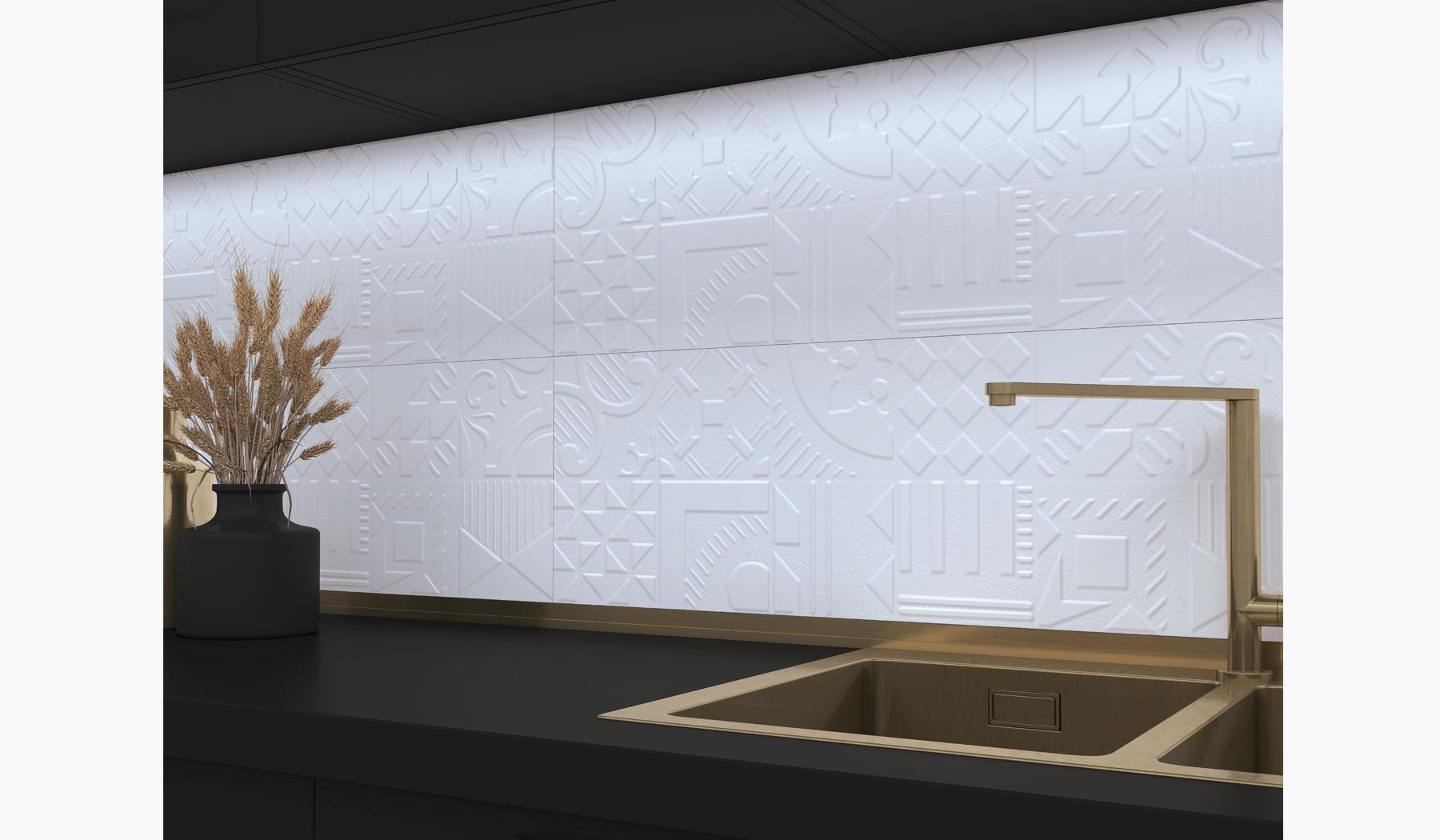 کاشی و سرامیک بوم سرامیک ، کاشی دیوار طرح وکتور سفید سایز 30*90 لعاب مات پانچ با زمینه سیمانی