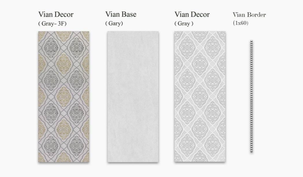 کاشی و سرامیک بوم سرامیک ، کاشی دیوار مجموعه ویان طوسی سایز 70*25 لعاب نیمه براق با زمینه کاغذ دیواری