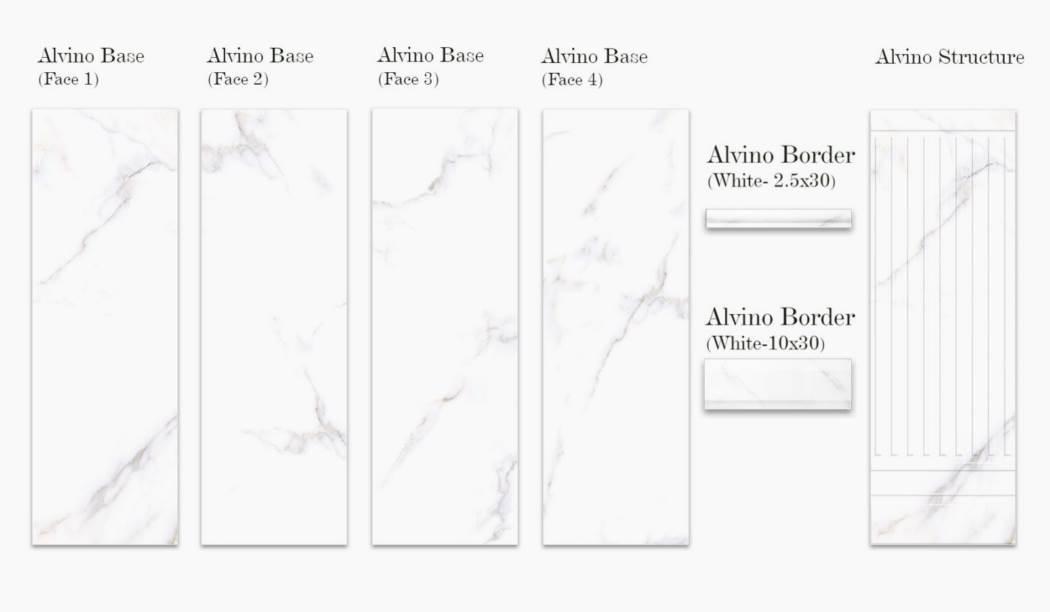 کاشی و سرامیک بوم سرامیک ، کاشی دیوار مجموعه آلوینو سفید سایز 90*30 لعاب براق با زمینه سنگی