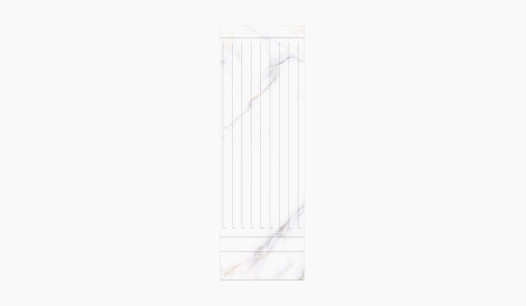 کاشی و سرامیک بوم سرامیک ، کاشی دیوار آلوینو دکور سفید سایز 90*30 لعاب براق پانچ با زمینه سنگی